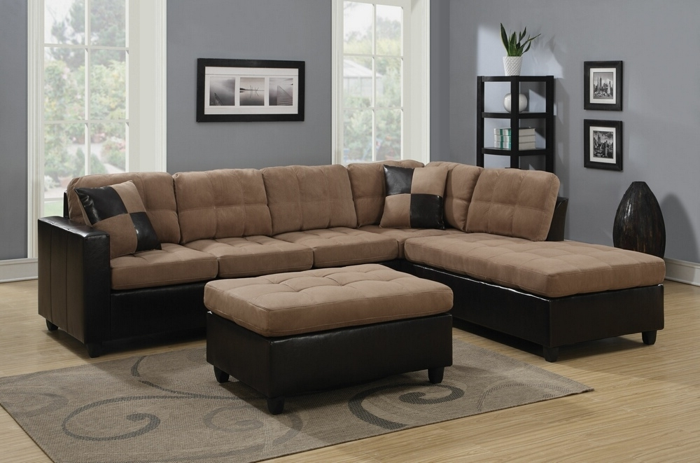 2 Pc Mallory Collection 2 Tone Tan Microfiber Fabric And Leather Within Current Leather And Suede Sectional Sofas (View 1 of 10)