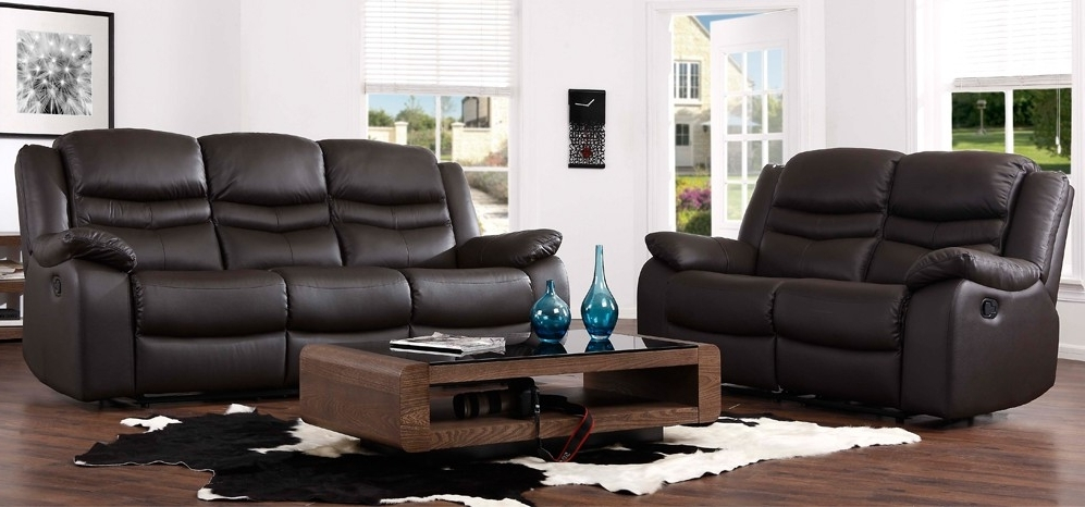 2 Seater Recliner Leather Sofas In Favorite Contour Espresso Brown Reclining 3 + 2 Seater Leather Sofa Set (View 1 of 10)