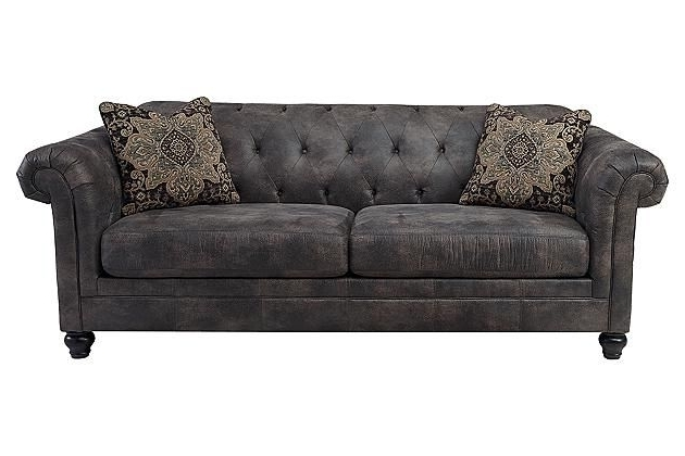 2017 Beautiful Ideas Gray Tufted Sofa Creative Cobblestone Hartigan Regarding Ashley Tufted Sofas (View 1 of 10)
