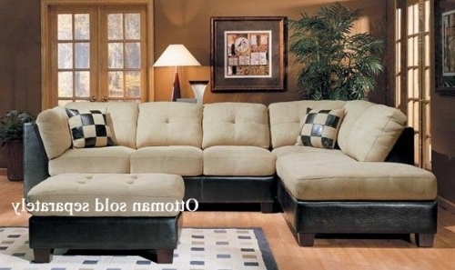 2017 Beige Sectional Sofas With Sectional Sofa Couch Chaise Beige Microfiber Dark Brown Bycast (View 1 of 10)