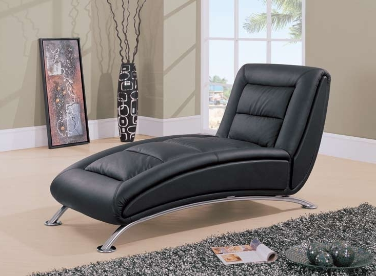 2017 Black Leather Chaise Lounge Chairs Intended For Black Leather Chaise Lounge (View 1 of 15)