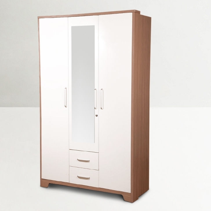 2017 Buy Ambra Three Door Wardrobe With Mirror In White Finish Online Inside White Three Door Wardrobes (View 1 of 15)