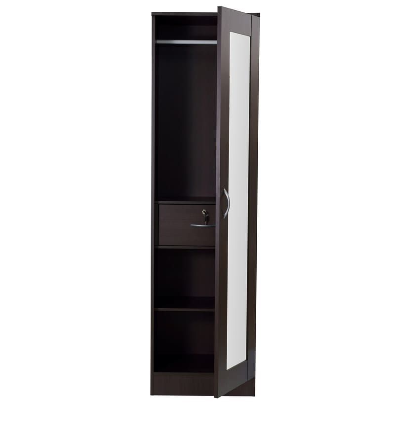 2017 Buy Namito One Door Wardrobe With Mirror In Chocolate Beech Finish With Black Single Door Wardrobes (View 3 of 15)