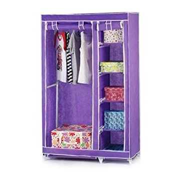 2017 Chinkyboo Double Canvas Wardrobe Clothes Storage Cupboard Hanging With Double Canvas Wardrobes Rail Clothes Storage Cupboard (View 1 of 15)