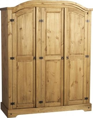 2017 Corona Mexican Pine Wardrobe Thee Door Curved Top Intended For 3 Door Pine Wardrobes (View 1 of 15)