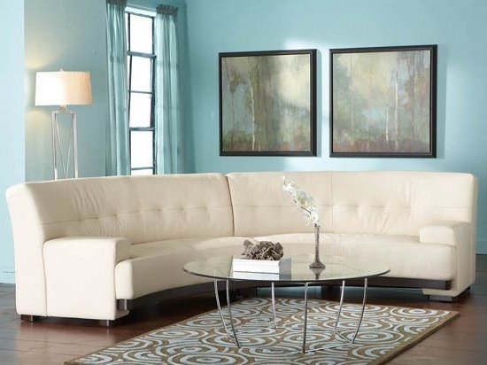 2017 Dania Sectional Sofas Pertaining To Mandalay 2Pc Leather Curved Sectional Plummer (View 1 of 10)