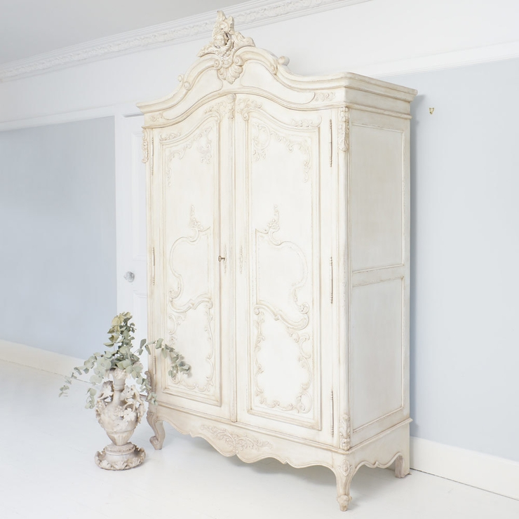 2017 Delphine Distressed White French Armoire Wardrobe Hand Carved Intended  For White French Wardrobes (View