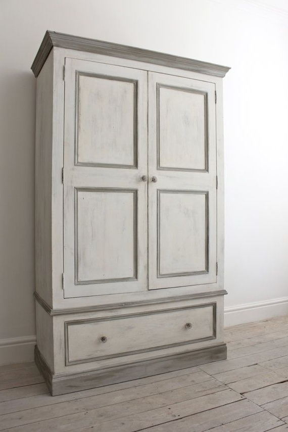 2017 Double Pine Wardrobe Painted In A Shabby Chic Style With Annie For White And Pine Wardrobes (View 1 of 15)