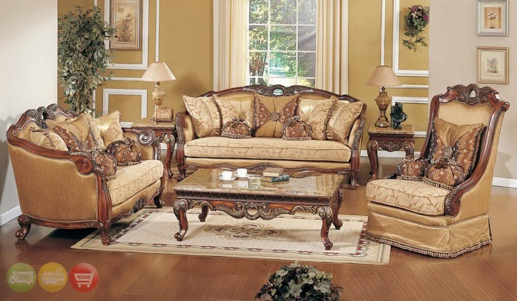2017 Exposed Wood Luxury Traditional Sofa & Loveseat Formal Living Room In Sofa Chairs For Living Room (View 1 of 10)