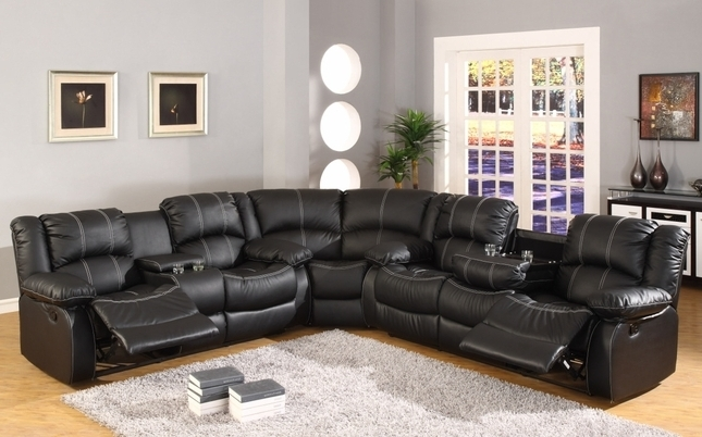 2017 Faux Leather Sectional Sofas Regarding Faux Leather Reclining Motion Sectional Sofa W/ Storage Console (View 1 of 10)