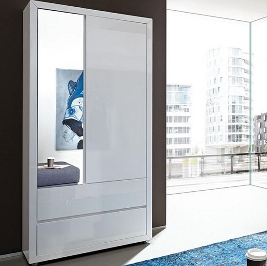 2017 Fino Wardrobe In White Gloss With Drawers 20657 Furniture For White Gloss Wardrobes (View 1 of 15)