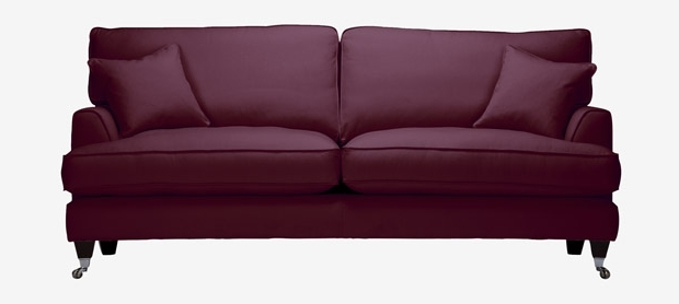 2017 Florence Large Sofa With Fixed Covers In House Velvet Burgundy For Florence Large Sofas (View 1 of 10)