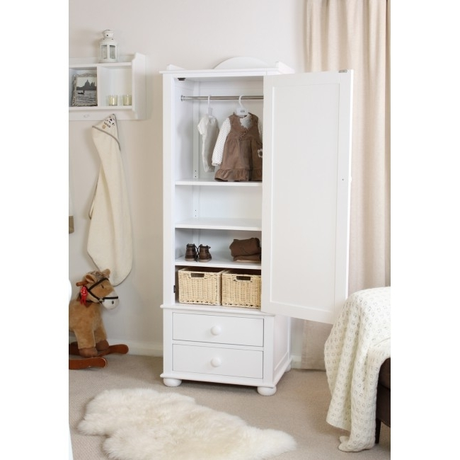 2017 Kinder Childrens Single Wardrobe White Solid Ash With Drawers Chic Pertaining To Single White Wardrobes (View 1 of 15)