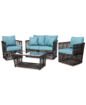 2017 Macys Outdoor Chaise Lounge Chairs In Closeout! Bahiya Wicker Outdoor 4 Pc (View 12 of 15)