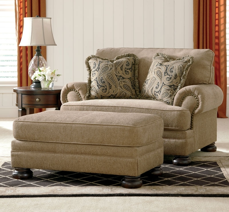 2017 Oversized Sofa Chairs Pertaining To Joyce – Traditional Tan Oversized Chenille Sofa Couch Set Living (View 1 of 10)