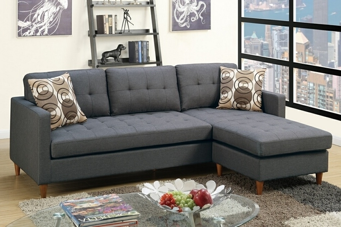 2017 Poundex F7094 2 Pc Leta Collection Blue Grey Polyfiber Fabric With Regard To Reversible Chaise Sofas (View 1 of 15)
