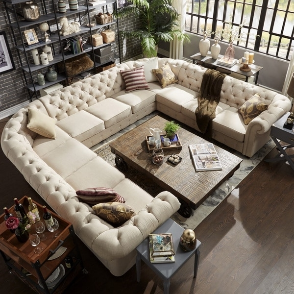 2017 U Shaped Sectionals Within Knightsbridge Tufted Scroll Arm Chesterfield 11 Seat U Shaped (View 4 of 10)