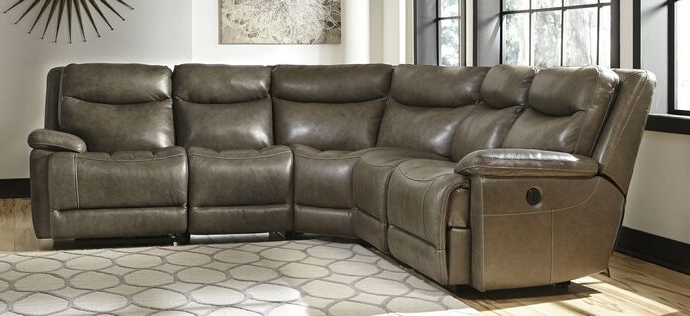 2018 5 Pc Zaiden Collection Quarry Colored Leather Match Sectional Sofa Intended For 102X102 Sectional Sofas (View 6 of 10)