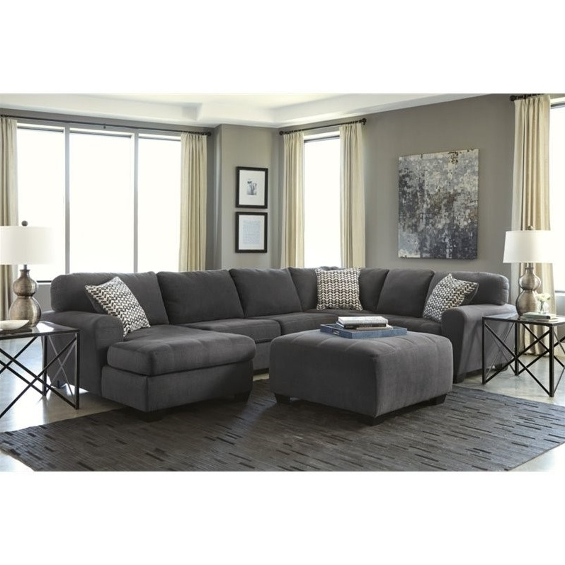 2018 Ashley Sorenton 4 Piece Right Chaise Sectional With Ottoman In Within Sectionals With Chaise And Ottoman (View 7 of 10)