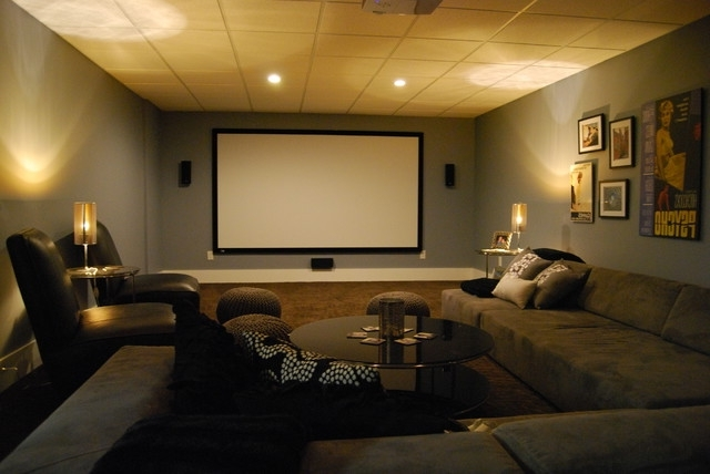 2018 Basement Media Room With Sectional Sofa And Giraffe Texture In Media Room Sectional Sofas (View 1 of 10)