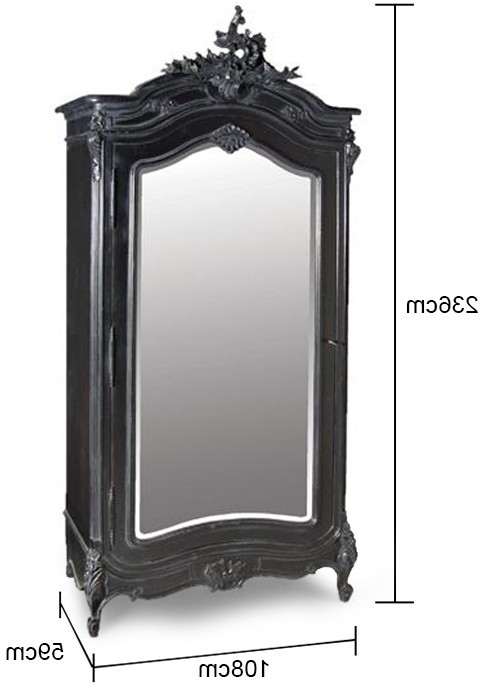 2018 Black French Armoire With Mirrored Front (View 2 of 15)