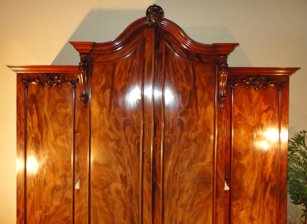 2018 Breakfront Wardrobes Pertaining To William Iv Flame Mahogany Breakfront Wardrobe – Antiques Atlas (View 5 of 15)