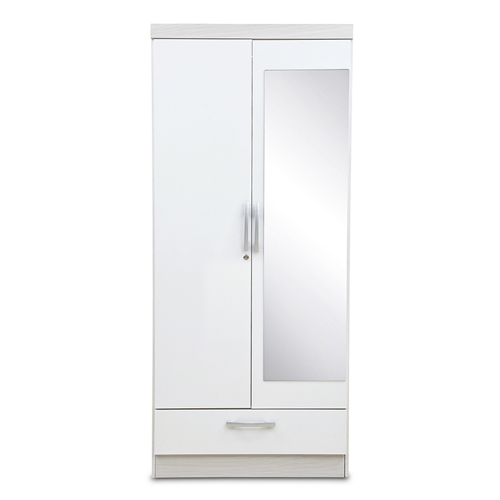 2018 Buy Apollo High Gloss Two Door Wardrobe With Mirror Online In Intended For Two Door White Wardrobes (View 1 of 15)