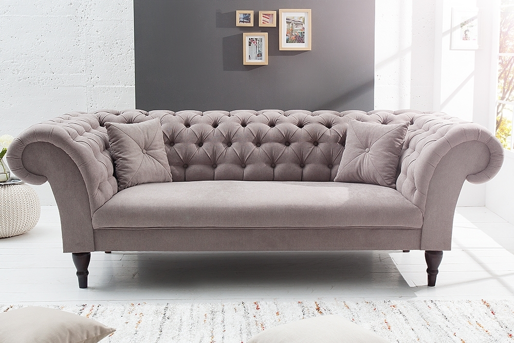 2018 Chesterfield Sofa Contessa Soft Baumwolle Greige Mit 2 Kissen With  Regard To Chesterfield Sofas (
