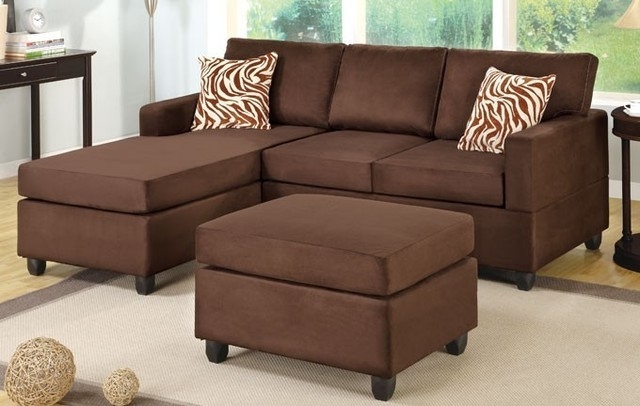 2018 Chocolate Microfiber Sectional Sofa With Reversible Chaise Ottoman With Regard To Chaise Lounge Sectionals (View 4 of 15)