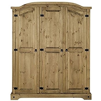2018 Corona 3 Door Wardrobes With Regard To Corona 3 Door Arched Top Wardrobe In Solid Pine: Amazon.co (View 1 of 15)
