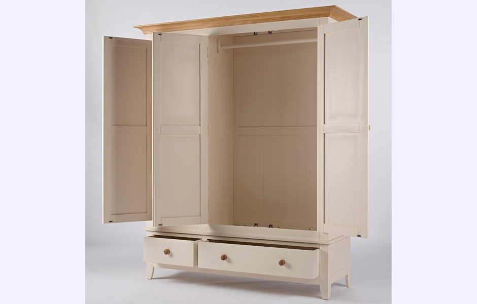 2018 Cream Triple Wardrobes In Triple Wardrobe – Camden (View 3 of 15)