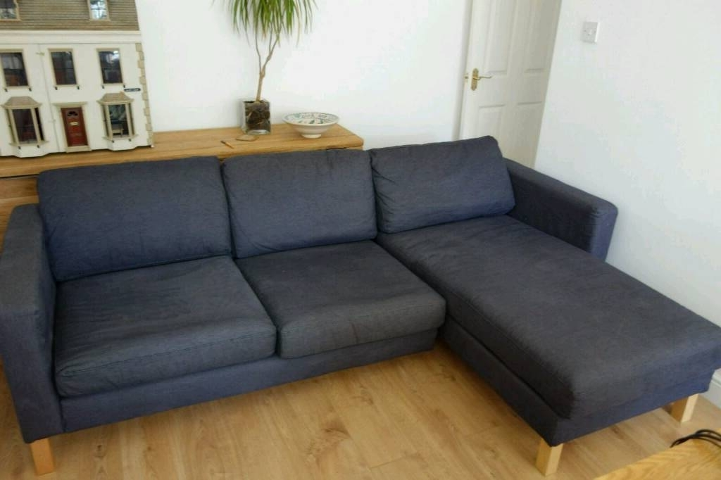 2018 Dark Blue/navy Ikea Karlstad Modular 3 Seater Sofa With Chaise Regarding Karlstad Chaises (View 2 of 15)