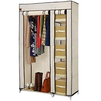 2018 Double Up Wardrobes Rails Throughout Vonhaus Double Canvas Effect Wardrobe – Clothes Storage Cupboard (View 3 of 15)
