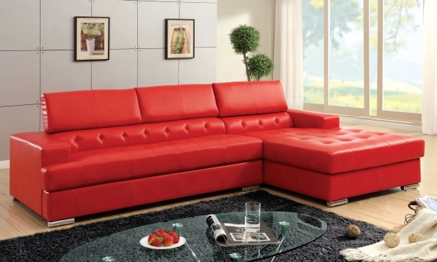 2018 Furniture: Modern Red Faux Leather Sectional Furniture For Small In Red Faux Leather Sectionals (View 6 of 10)