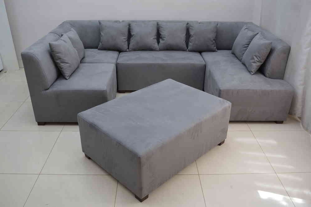 2018 Mini Modular Sofa Grey Faux Suede Fabric Inside Faux Suede Sofas (View 4 of 10)