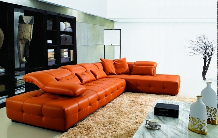 2018 Orange Sectional Sofas With Sectional Sofa Design: Brilliant Orange Leather Sectional Sofa (View 1 of 10)