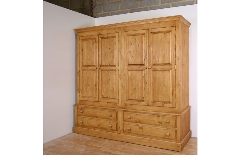 2018 Pine Wardrobes With Drawers Inside Solid Pine 4 Door Wardrobe With Drawers In 4 Sizes (View 1 of 15)