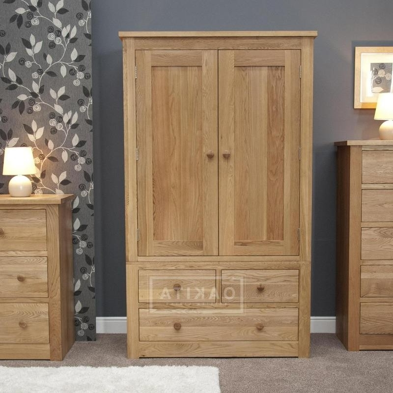 2018 Prague Solid Oak Double Wardrobe With 3 Drawers – Oak Wardrobes With Regard To Double Wardrobes (View 2 of 15)