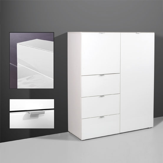 2018 Primera Tall Sideboard In White Glass With 2 Doors And 3 Regarding Tall White Gloss Wardrobes (View 2 of 15)