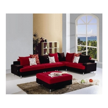 2018 Red And Black L Shaped Fabric Sofa Set – Buy L Shaped Fabric Sofas In Red And Black Sofas (View 1 of 10)