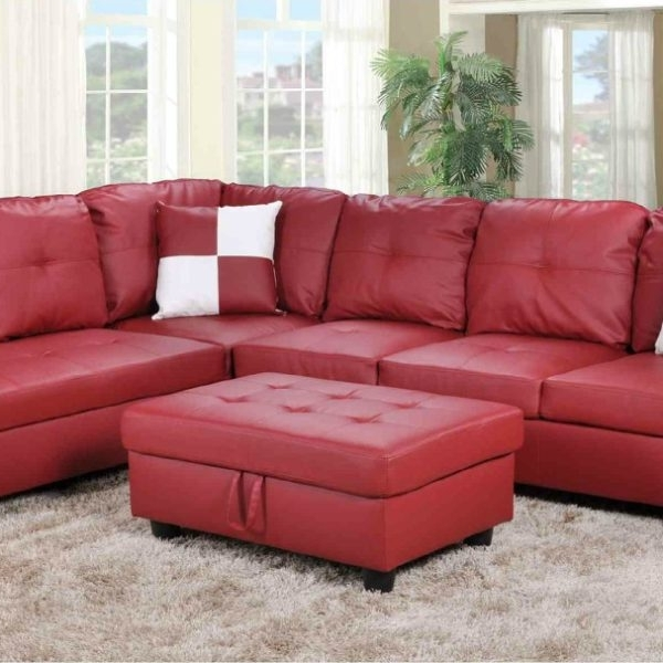 2018 Red Faux Leather Sectionals With Regard To F093b – Red Faux Leather Sectional With Storage Ottoman – All (View 4 of 10)