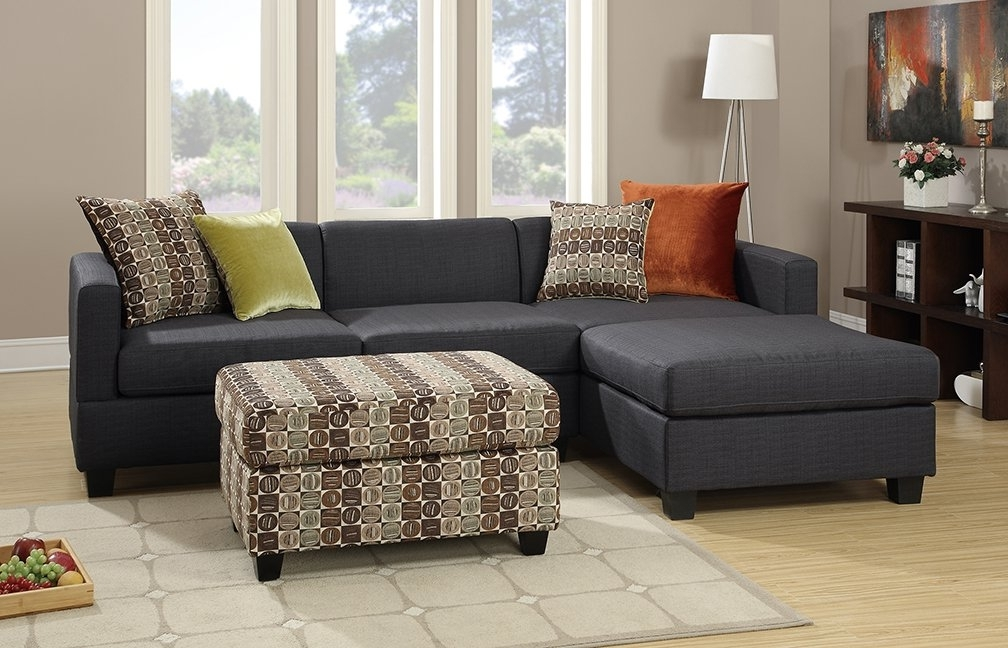 2018 Sectionals With Ottoman With Regard To Poundex Bobkona Dayton Reversible Sectional With Ottoman & Reviews (View 2 of 10)