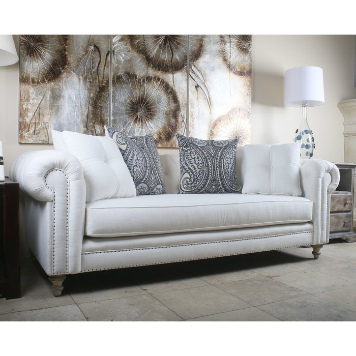 2018 South Cone Home Hanover Tufted Linen Chesterfield Sofa & Reviews Intended For Tufted Linen Sofas (View 1 of 10)