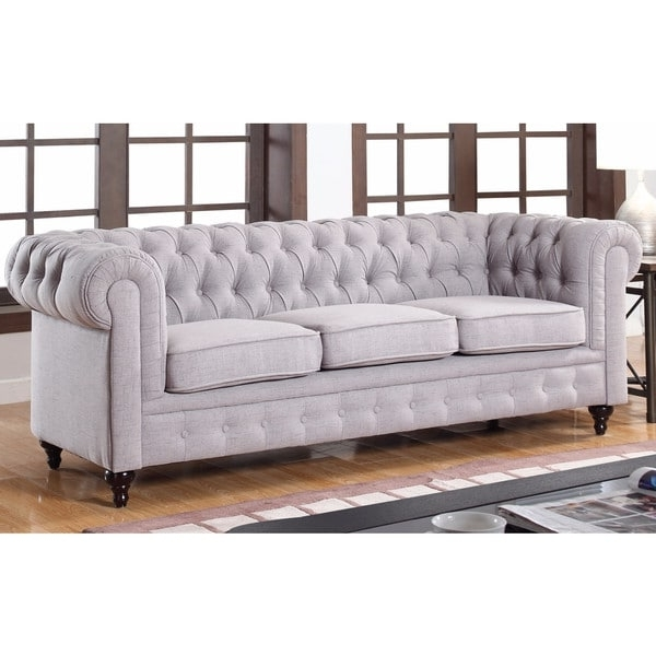 2018 Tufted Linen Sofas With Classic Stone Scroll Arm Tufted Linen Fabric Chesterfield Large (View 2 of 10)