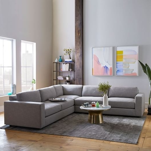 2018 Urban 3 Piece L Shaped Sectional – Heathered Tweed (View 1 of 10)