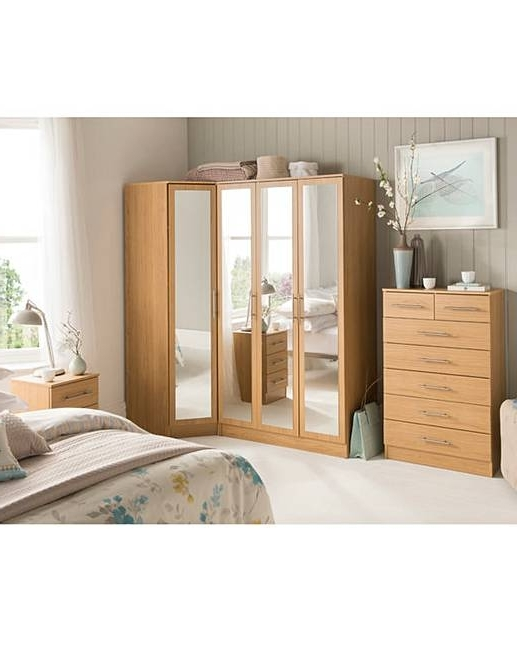 2018 Wardrobes With Mirror And Drawers In Helsinki Corner Wardrobe With Mirror (View 1 of 15)