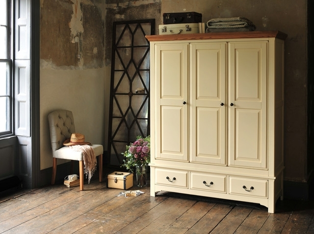 2018 Westbury Painted Cream Triple Wardrobe – Country – Bedroom – Other With Regard To Cream Triple Wardrobes (View 2 of 15)