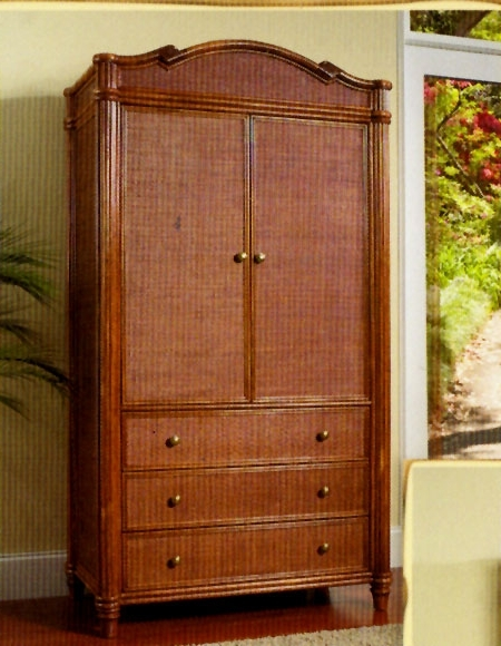 2018 Wicker Armoire Wardrobes Intended For Hampton Beach Rattan And Wicker Bedroom Set And Individual Pieces (View 2 of 15)