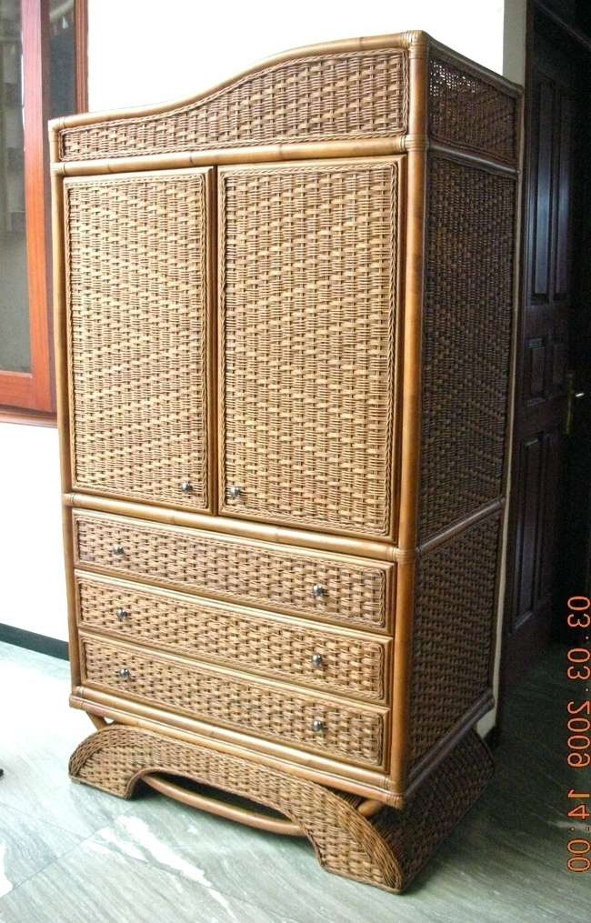 2018 Wicker Armoire Wardrobes Pertaining To Wardrobes ~ Wicker Armoire Wardrobe Armoire Armoire Aqua Wood (View 3 of 15)