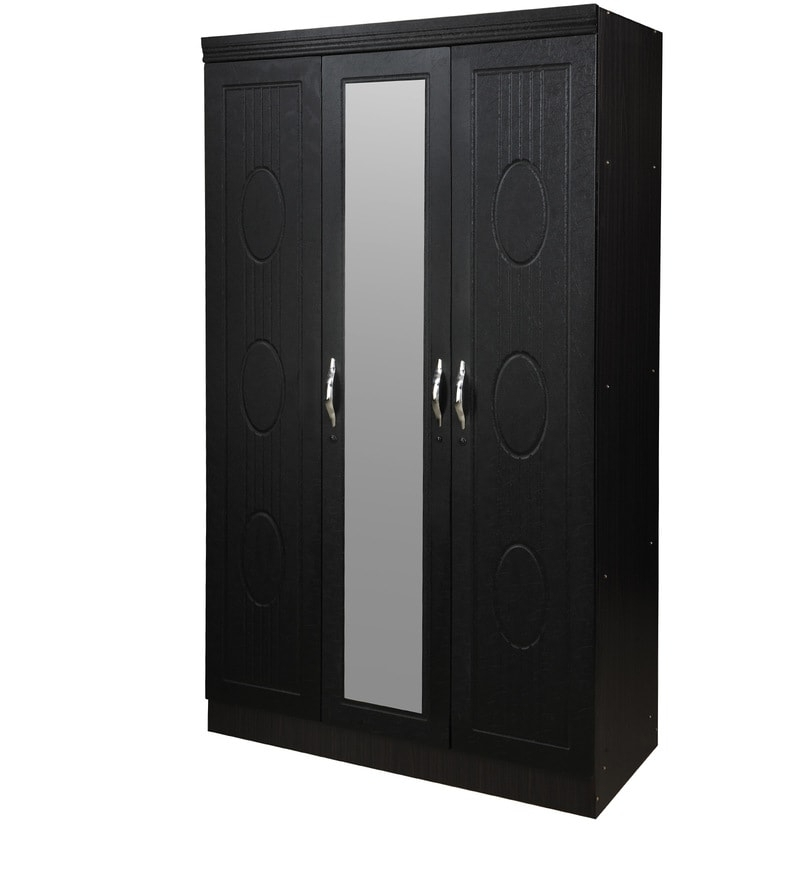 3 Door Black Wardrobes Inside Fashionable Buy Jupiter Three Door Wardrobe In Black Colourroyal Oak (View 3 of 15)